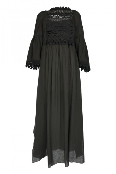 Caftan with crochet details in black