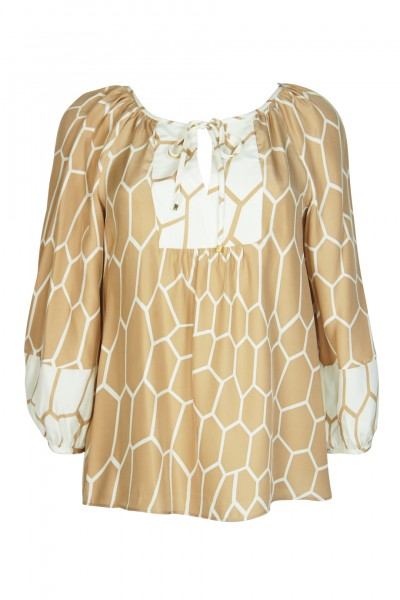 silk tunic with honeycomb print in beige