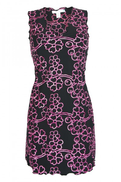 Flavia Padovan-Dress with floral embroidery in black