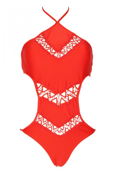 Monokini with crochet in red