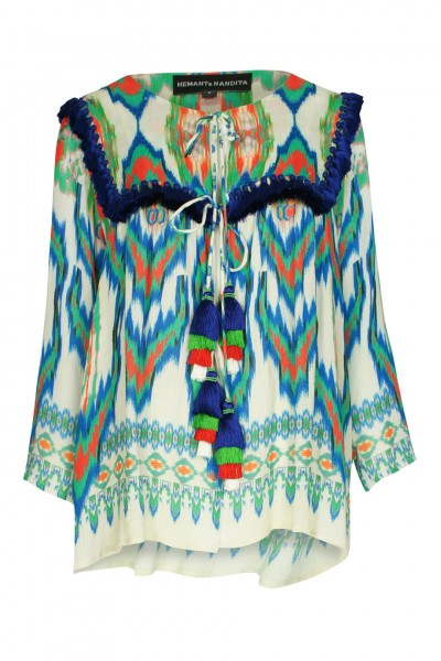 Ikat top in green with sequins