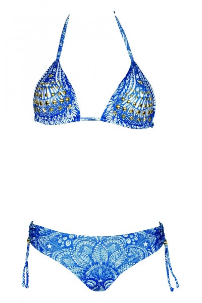 Padded Triangle Bikini with riveting details in blue