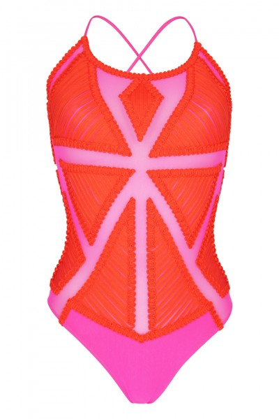 Swimsuit with mash inserts in red/pink