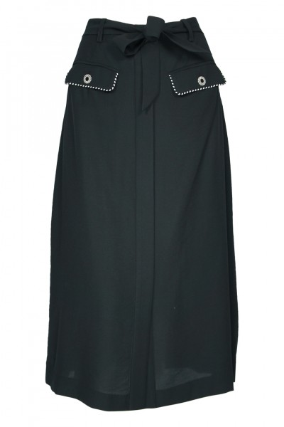 Piped Luxe Skirt Black