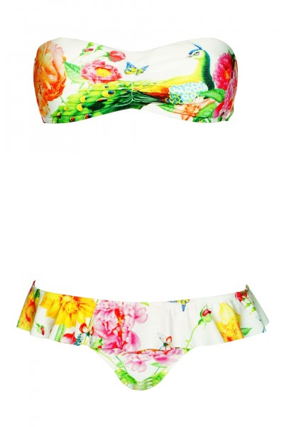 Padded Bandeau Bikini with floral print in white