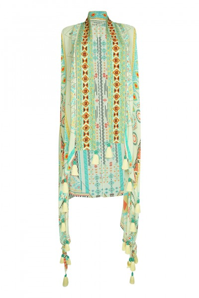 Embroidered Aztec vest with tassels