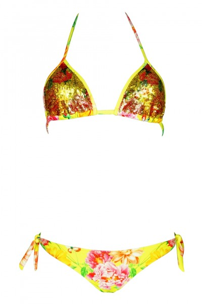 Padded Triangle Bikini mit Pailletten in gelb
