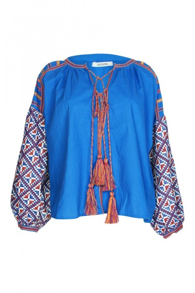 Balloon blouse blue with embroidery