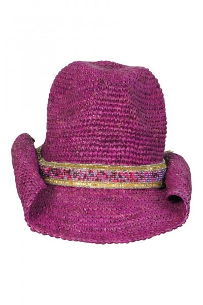 Cowboy hat in Magenta with beading