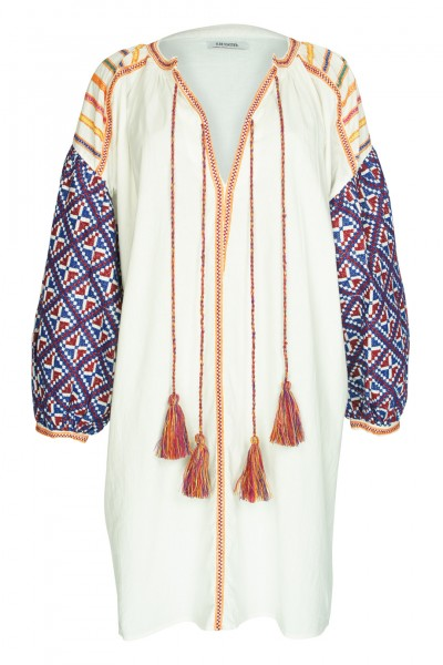 Balloon tunic white with embroidery