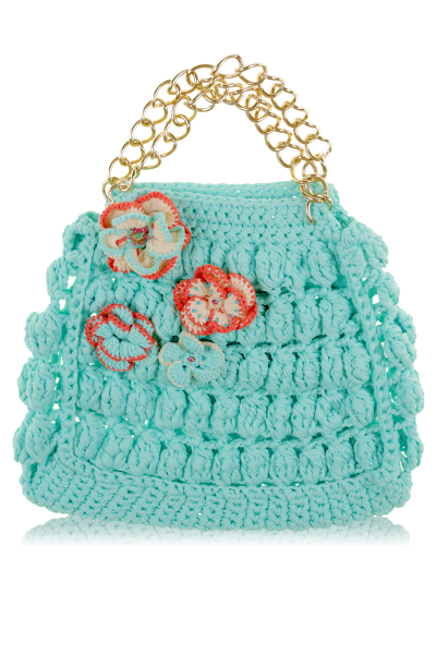 Braided beach bag with golden handles