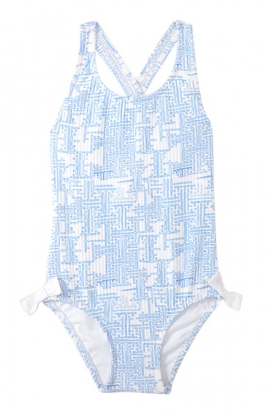 Girls Montauk Badeanzug Blue/White