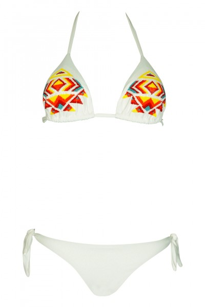 Padded triangle bikini in white with pearl embroidery