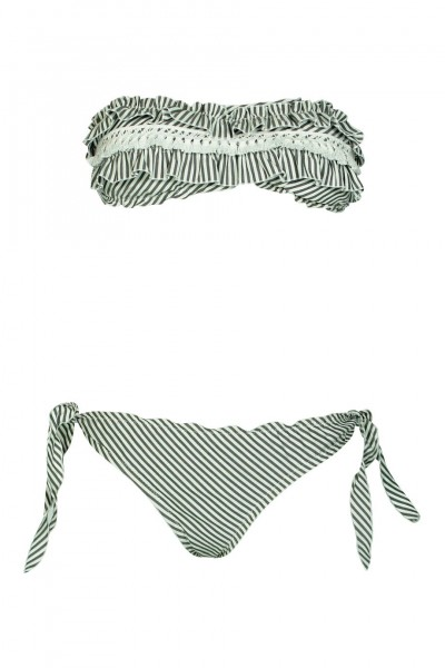 Striped padded bandeau bikini in grey