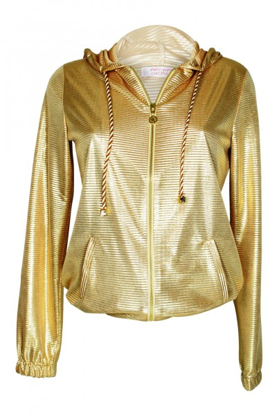 Kapzenjacke im Metallic-Look gold