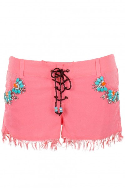 Embroidered silk shorts with fringes