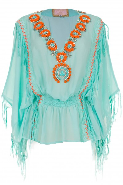 Embroidered silk top dress with fringes