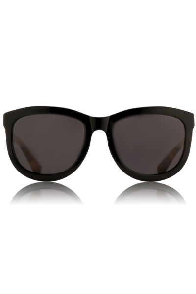 THE ROW | Curvy D-Frame Sonnenbrille ROW 74 Black/ T-Shell/ GRey Lens