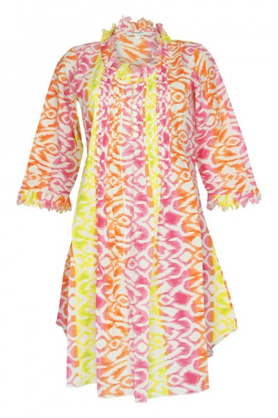 Ikat-print caftan in pink/yellow