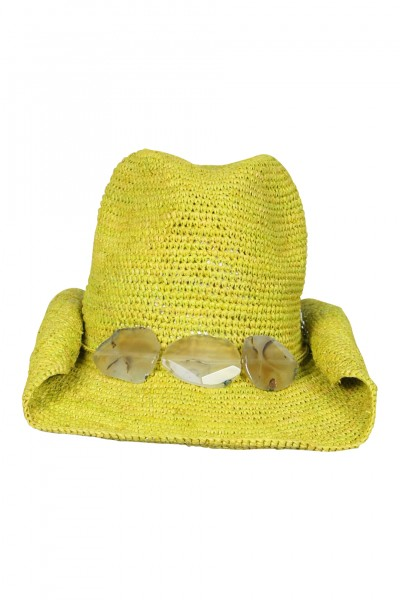 Cowboy hat in Lime with stones