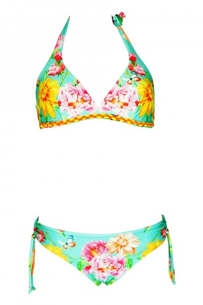 Triangle bikini with floral print in turquoise C / D Cup