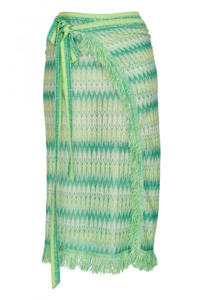 Beach wrap skirt zig zag in Green