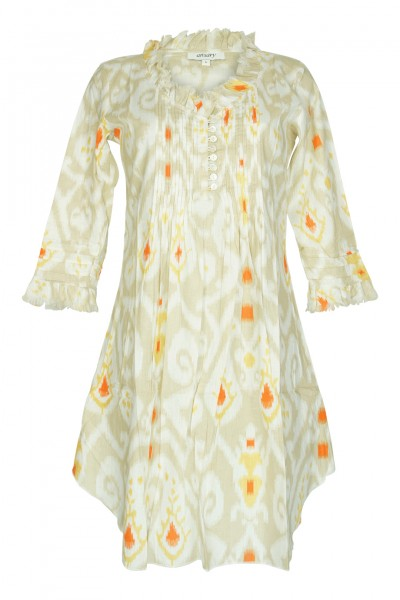 Ikat-print caftan in beige/orange