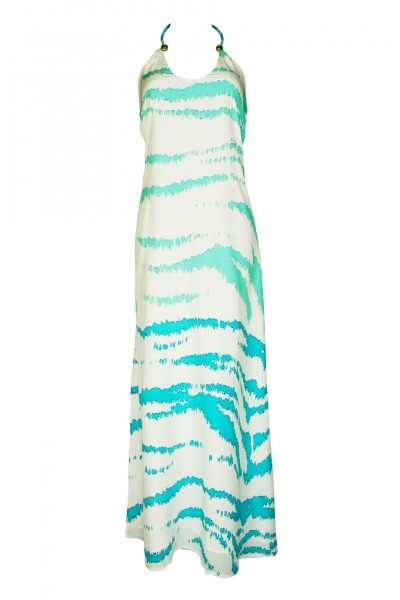 Silk crepe maxi dress with lining