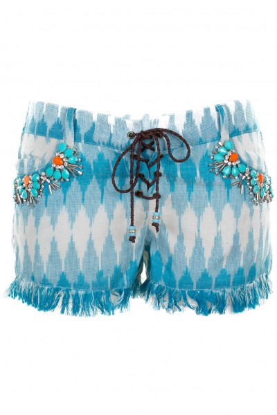 Embroidered shorts with fringes