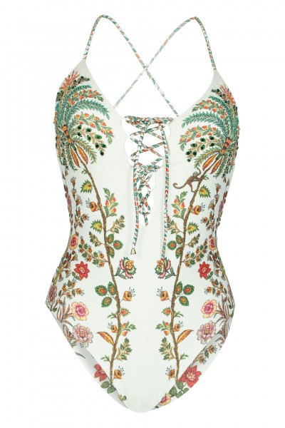 Padded swimsuit with bead embroidery in white