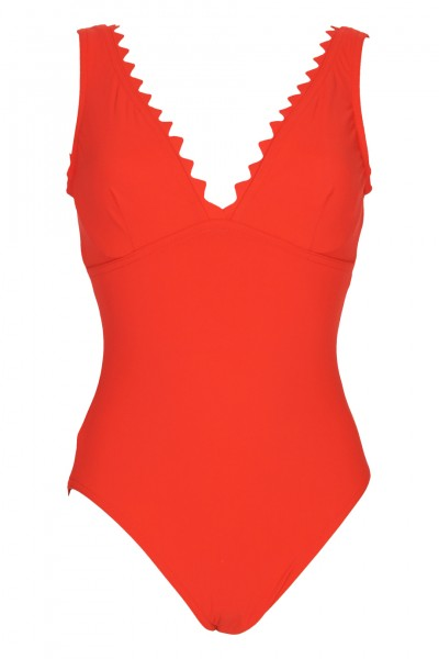 Ines V-Neck Wired Swimsuit Red