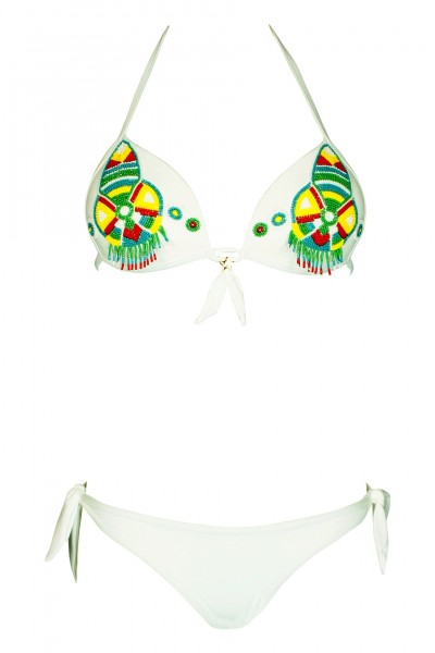 Push Up Bikini in white with pearl embroidery