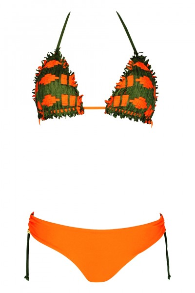Padded Triangle Bikini orange in woven leather look