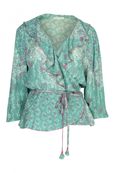 Elise wrapped blouse in green butterfly
