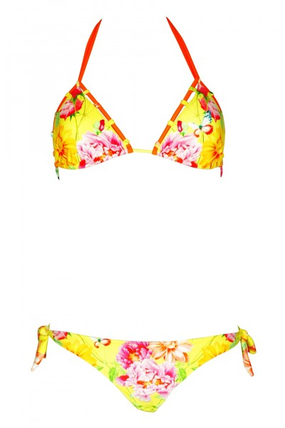 Padded Triangle Bikini with floral print in yellow