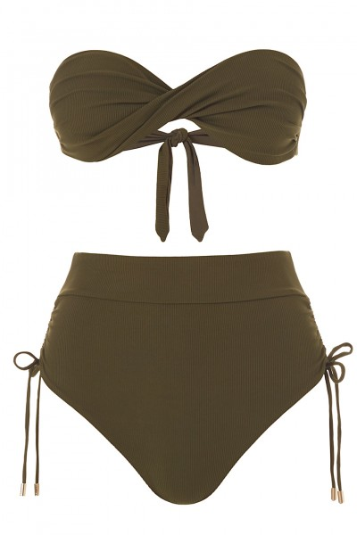 Thailand Padded Bandeau Olive Ribbed