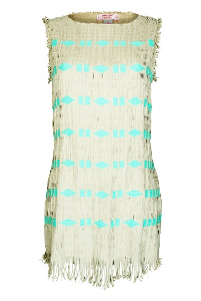 Dress fringed leather look in cream