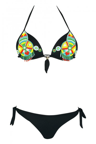 Push Up Bikini in black with pearl embroidery