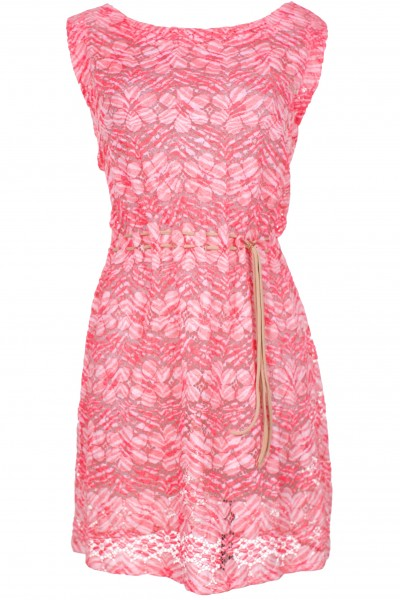 Boat neck dress in cotton lace