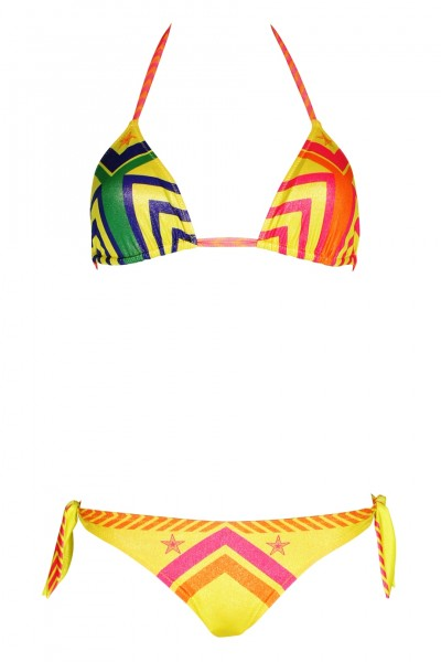 Padded triangle bikini navajo in yellow