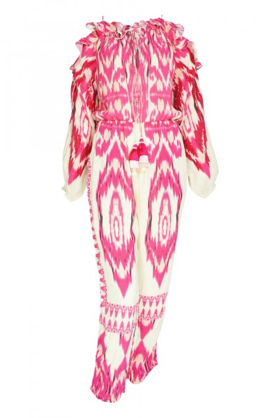 Ikat jumpsuit in pink with sequins