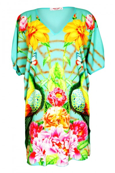 Dress with floral print and V neck turqouise