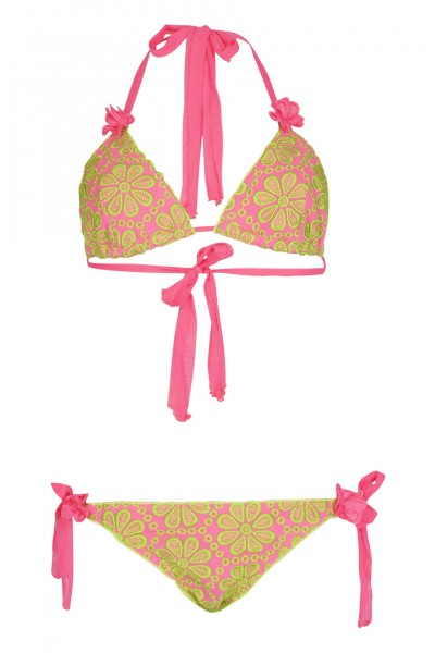 Padded triangle bikini with floral embroidery in pink