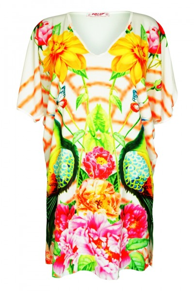 Dress with floral print and V neck white