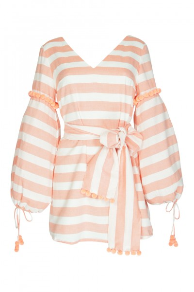 Billie striped dress in peach