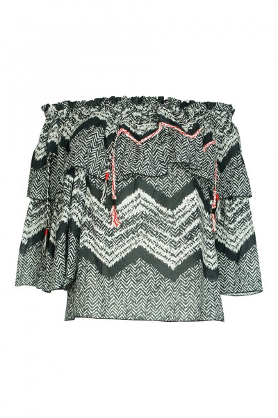 Printed off-the-shoulder top with braided details in black