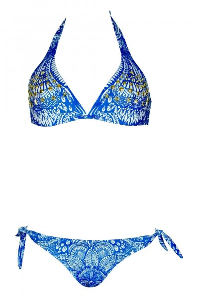 Triangle Bikini with riveting details in blue C / D Cup