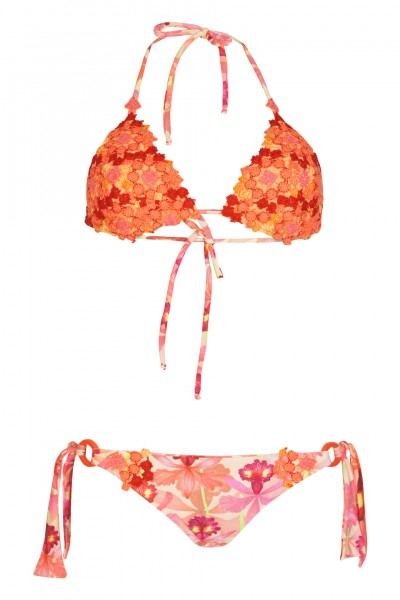 Triangle bikini with floral crochet details