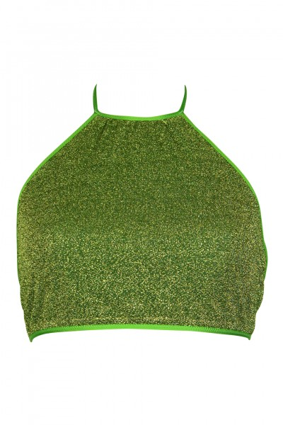 Glitter neckholder top green