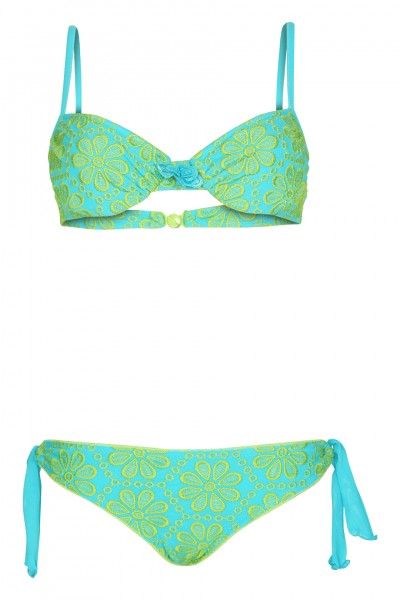 Padded wierd bikini with floral embroidery in turquoise